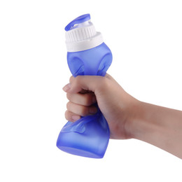 Water Bottle Wholesale For Sports UK - 500ml Collapsible Folding Drink Water Bottle Kettle Cup Silicone canteen kettle for Travel outdoors Sports camping picnic 10pc h136