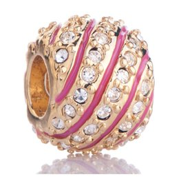 gold stripping Australia - Gold plating Jewelry handcraft colors Enamel Pink strip clear crystal Faberge Egg charm Beads Fits Pandora Bracelets