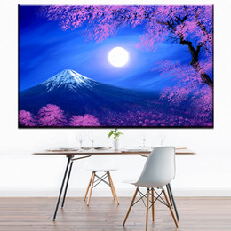 Cherry blossom landsCape painting online shopping - ZZ1694 Cherry blossoms and mount Fuji Japan moon night canvas art wall poster and prints oil art painting for home decoration