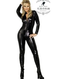 Barato Maiúsculas E Minúsculas-Tamanho Plus XXL Sexy Black Catwomen Jumpsuit PVC Spandex Latex Catsuit Lingerie Trajes Feminino Body Suits Fetish Leather Underwear