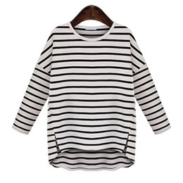 6ebec308 Wholesale- 2017 Spring 5XL 4XL 3XL Plus size Women Clothing Casual Loose  Striped Long sleeve Slit Big size T-shirts Oversized Tops Tees