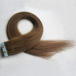 Discount seamless human hair extensions - Skin weft seamless hair extensions 40 pieces #6 Medium Brown remy human hair extensions adhesive 100g tape in human hair