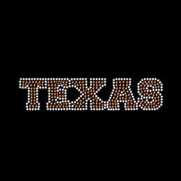 Ingrosso Commercio all'ingrosso Peace Love I Love Texas Ferro su strass Trasferimento Hot Fix Motif per t-shirt