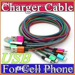 Pink Nylon Cord Canada - Unbroken Metal Connector Fabric Nylon Braid Micro USB Cable Lead charger Cord For Samsung S6 S5 S4 S3 HTC Android Phone 1M 2M 3M T-SJ