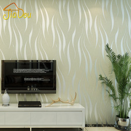 Wholesale  Environmental Pollution Protection Non Woven Wallpaper 3D Wave  Stripe Flocking Embossed Removable Mica Wall Paper Mural 0.53*10M Part 98