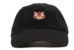 College Ball Caps Canada - Kanye West Graduation College Dropout Bear Dad Hat Cap White Tan Pink Black 6 panel polos snapback hats Rare baseball caps