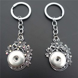 Wholesale 12pcs Fashion Tibetan Rhinestone Flower Basket Key Chains Metal Ginger MM Snap Buttons Pendant Keyring Jewelry