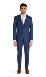 wedding blazers design UK - Latest Design One Button Blue Groom Tuxedos Groomsmen Best Man Suits Mens Wedding Blazer Suits (Jacket+Pants+Vest+Tie) NO:522