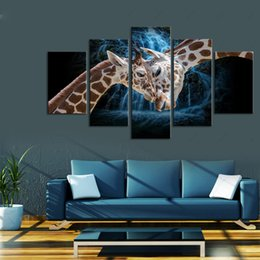 giraffes picture NZ - Modern Fashion Home Decoration Animal Oil Painting 5 panel Canvas Art Deer Giraffe Wall Poster and Print Pictures Unframed