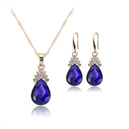 Simple model necklace online shopping - Drop shaped diamond necklace and earrings suit Europe and the United States selling simple fashion models Ms jewelry