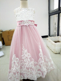 Wedding Vest Pink Canada - New Design A Line Jewel Floor Length Pink Tulle Lace Flower Girls' Dresses For Wedding Cheap Wedding Party Pageant Dresses For Girls