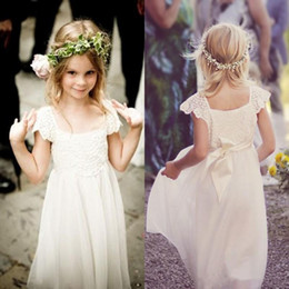 $enCountryForm.capitalKeyWord NZ - Boho Beach Cap Sleeves Flower Girl Dresses 2017 White Ivory Lace Chiffon Girls Kids Formal Dresses for Wedding with Sash First Communion