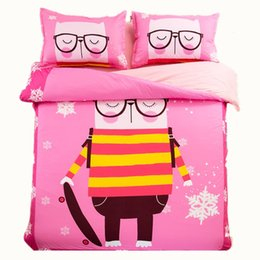 $enCountryForm.capitalKeyWord Canada - Soft Comfortable 100% Cotton Pink Cartoon Cat Printing Bedding Sets Twin Full Queen King Size Bedclothes Bedspreads Duvet Covers Snowflake