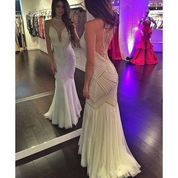 MerMaid proM dress white pearl sheer online shopping - Halter Sheer Plunging V Neck Evening Dresses Major Beads in Pearls Mermaid Hollow Back Floor Length Prom Gowns
