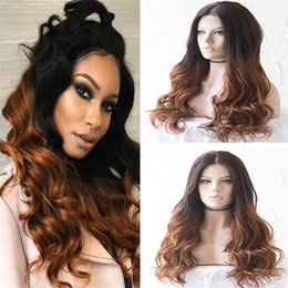 $enCountryForm.capitalKeyWord NZ - Celebrity Wig Brazilian Virgin Human Hair Lace Front Wigs Two Tone Ombre Color Loose Wave Full Lace Wig For Black Woman Free Shipping