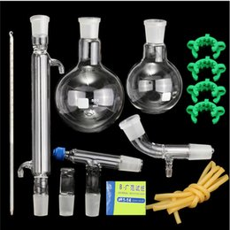 Chinese  Wholesale-Distillation Apparatus Laboratory Chemistry Glassware Kit Set With Joints 24 40 Borosilicate Glass 3.3 Round Bottom Flask manufacturers