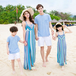 6308c03a05b Family Matching Outfits Father Mother Daughter Son 2016 Summer Geometric Print  Beach Dresses Family Look Dress Kids Clothes Set