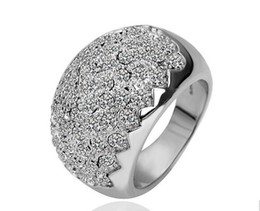 white gold swarovski wedding rings NZ - Fashion 18K White Gold Plated Austrian Crystal Ring made with Swarovski Elements for Women Wedding Jewelry Wholesale Price
