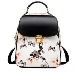 Floral Print Leather Backpack Canada - Floral Printing Backpack Hasp  Versatile Fashion Backpack Leather Bags Women 5a6647ad4fddf
