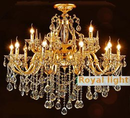 $enCountryForm.capitalKeyWord NZ - Royal 15 pcs Gold hotel Chandelier lighting for dining room Sitting room crystal Aluminum ceiling chandelier lampada E14 Led candle lustre