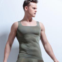 Mens Plus Size Silk Shirts Canada - New Men's Seamless Vest Men's Sleeveless T-Shirt Slim Shirt Wide Shoulder undershirt men singlet mens silk undershirts plus size