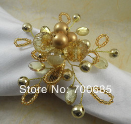 Crystal Ring Napkin Holder Wholesale NZ - Wholesale- crystal beaded napkin ring, napkin holder,