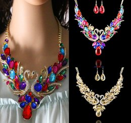 europe suits Australia - New Europe and the United States exaggerated big necklace fashion swan alloy diamonds popular suit women chain