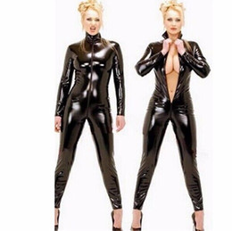 Barato Ternos De Corpo De Látex Mulheres-Atacado- New Sexy Black Catwomen Jumpsuit PVC Spandex Latex Catsuit Trajes para Mulheres Body Suits Fetish Leather Bodysuits Plus Size XXL