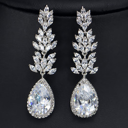 $enCountryForm.capitalKeyWord NZ - 3 layers real 18k white gold  platinum plated high grade CZ diamond gemstone luxury long pear drop bridal earrings