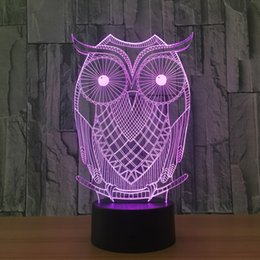 3d usb mouse UK - 3D Cartoon Owl Illusion Lamp Night Light DC 5V USB Charging 5th Battery Wholesale Dropshipping Free Shipping Retail Box