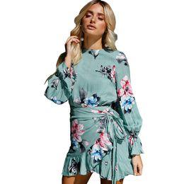 Autumn 2017 Asymmetrical Bodycon Bandage Dress Women Print Floral Long Puff  Sleeve Ladies Bohemian Mini Shirt Dress with Sashes 4807cebbbc5b