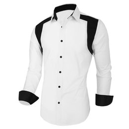 Chinese  Wholesale- Men Shirt Tuxedo Designer Contrast Color Classic Simple Male Clothes White Royal Blue Turn-down Men's Clothing Accessories manufacturers