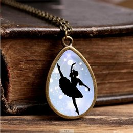 silhouettes glasses 2019 - 2019 New Dancing Ballerina Necklace Ballet Silhouette Jewelry Tear Drop Pendant Glass Necklaces Vintage Accessory discou