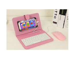 Lg Android Cases Canada - leather case protector with USB keyboard mouse for most Android system mobile phone flip cover with stand phone holder