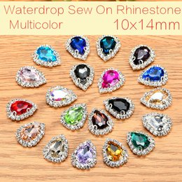 hair claws rhinestones NZ - 10x14mm 50pcs lot Teardrop Glass Crystal Buttons Sew On Rhinestones With Claw DIY Decoration Hair Crafts