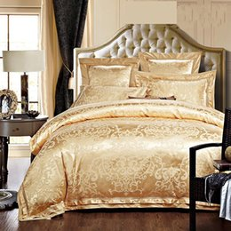 White Gold Bedding Canada - Gold White Blue Jacquard Silk Bedding Set Luxury 4 6pcs Satin Bed Sets Duvet Cover King Queen Bedclothes Bed Linen Pillowcases Home Textile