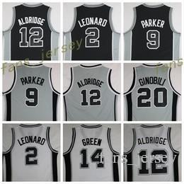 Camisas Blancas Calientes Baratos-Hot Sale 12 LaMarcus Aldridge Uniformes 20 Manu Ginobili 2 Kawhi Leonard Jersey camiseta 9 Tony Parker Fashion Team Color Negro Gris Blanco