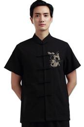 Vente en gros Histoire de Shanghai broderie de Dragon de l'homme Top chinois traditionnel top mâle chinois kungfu chemise chemise chinoise pour les hommes Dragon Shirt