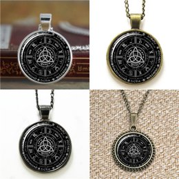 Wholesale Bookmark Chains Australia - 10pcs Pagan Wheel of the Year Pagan Pentagram Pendant Glass Photo Necklace keyring bookmark cufflink earring bracelet