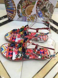 shoes stone sandals 2019 - Big European style luxury shoes sandals slippers, luxury leather leather chrysanthemum stones, 3D printing, senior fashi