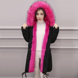 Womens Parkas Canada - 2016 Womens Winter Jackets Large Raccoon fur Hooded Collar Long Thick Warm Slim Ladies Down Parkas Cotton Coats manteau femme