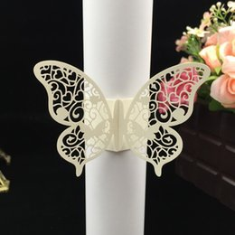 $enCountryForm.capitalKeyWord NZ - 50pcs Free Shipping Laser Cut Towel Buckle Beautiful Butterfly shaped Paper Wedding Decorations Napkin Ring for Party Table Decoration
