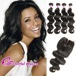 Colorful Human Hair Australia - 4 Bundles With Closure Peruvian Virgin Hair Body Wave Weave Human Hair Extensions Colorful Queen Peruvian Hair Closure and Bundles 5 Pcs Lot