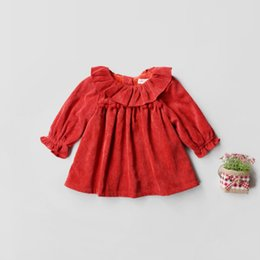Barato Moda Meninas Coreano Meninas-Everweekend Girls Ruffles Corduroy Outono Vestido de Inverno Vintage Korea Western Fashion Baby Clothing Lovely Children Kids Dress