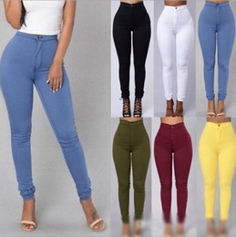 Barato Leggings De Pele Sexy-Elastic Tight Leggings Mulheres Plus-size Sexy Denim Leggings Verão fina cintura alta Elastic Pencil Calças Feminino Candy-Colored Slim Jeans