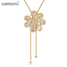 gold flower design pendant for necklace UK - LUOTEEMI New Design Free Shipping High Quality Flower Pendant Necklace White Gold Champagne Gold Color Jewelry for Women