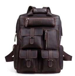 17 Inch Leather Laptop Bag Canada - Handcrafted Real Leather Vintage Laptop  Backpack Shoulder Bag Travel 1de4a44673c1