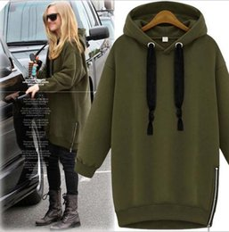 Thin Arm Sleeves Canada - Arm Green New Winter Autumn Loose Hooded Jacket Plus Size Thick Velvet Long sleeve Sweatshirt Korean Style Hoodies
