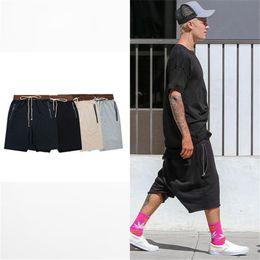 Joggers Shorts For Men Canada - streetwear hip hop dance clothes stage for men black grey khaki navy short mens stretch cotton sweat jogger shorts 50