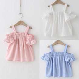 Chemises Blanches Blanches Pas Cher-2017 Summer Baby Girls Strap coton Tops Tshirt Enfants Ruffles Slash Neck Tops Tee Enfants T-shirts blanc Bleu Rose
